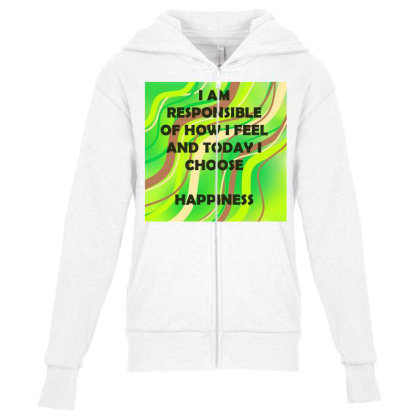 Happiness Youth Zipper Hoodie Designed By Artango