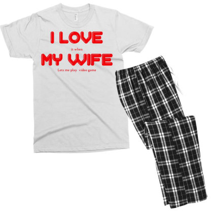 I Love My Wife Men's T-shirt Pajama Set Designed By G3ry