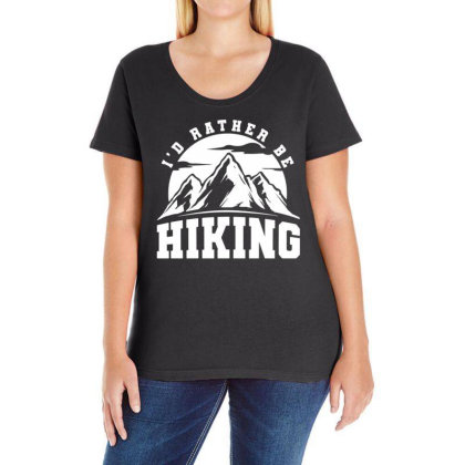 I'd Rather Be Hiking Ladies Curvy T-shirt Designed By G3ry