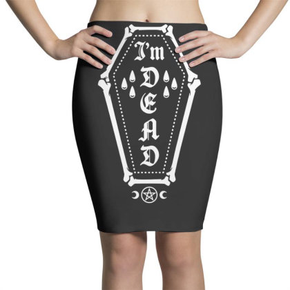 I'm Dead   Funny Goth Bone Coffin Pencil Skirts Designed By G3ry