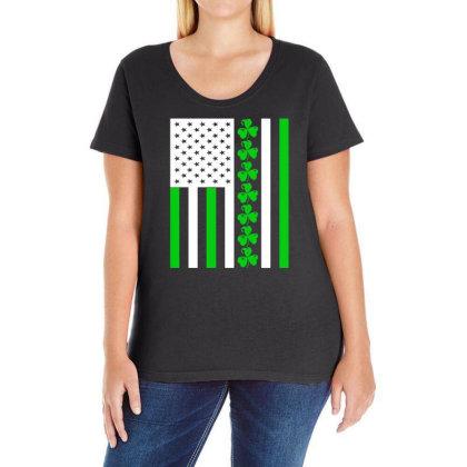 Ireland Us Flag Shamrock Irish Ladies Curvy T-shirt Designed By G3ry