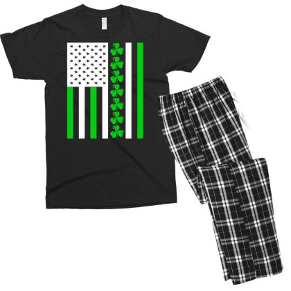 Ireland Us Flag Shamrock Irish Men's T-shirt Pajama Set Designed By G3ry