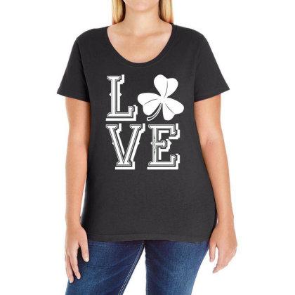 Irish Shamrock Love Ireland Ladies Curvy T-shirt Designed By G3ry