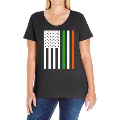 Irish Us Flag Ireland Ladies Curvy T-shirt Designed By G3ry