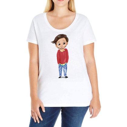 Cute Boy Ladies Curvy T-shirt Designed By Sufiyan67