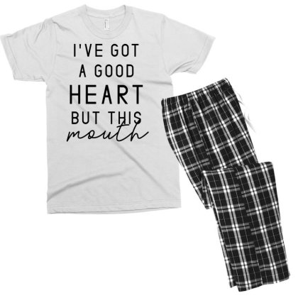 I've Got A Good Heart But This Mouth Sassy Quote Men's T-shirt Pajama Set Designed By G3ry