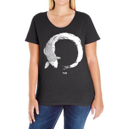 Koi Fish White Enso Ladies Curvy T-shirt Designed By G3ry