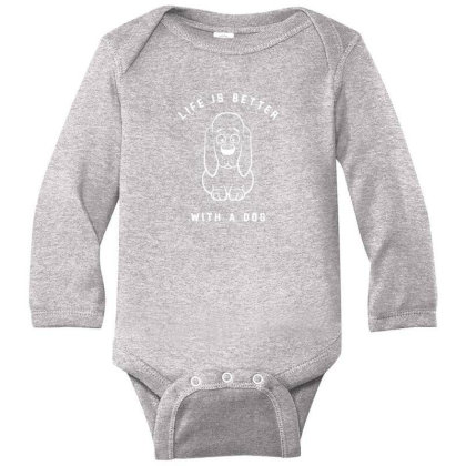 Life Is Better With A Dog Long Sleeve Baby Bodysuit Designed By Fashionnetwork