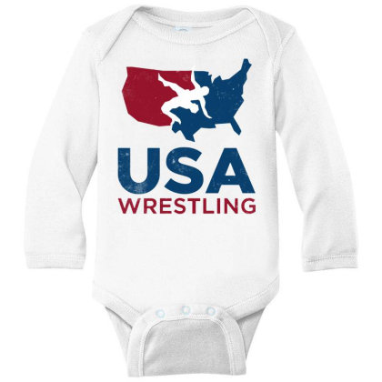 Usa Wrestling Vintage Long Sleeve Baby Bodysuit Designed By Star Store