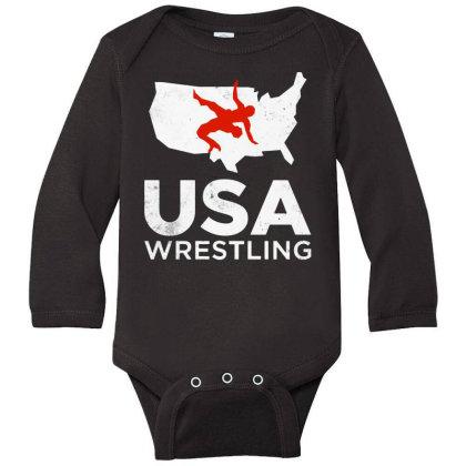 Usa Wrestling Vintage Light Long Sleeve Baby Bodysuit Designed By Star Store