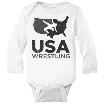 Usa Wrestling Vintage Dark Long Sleeve Baby Bodysuit Designed By Star Store