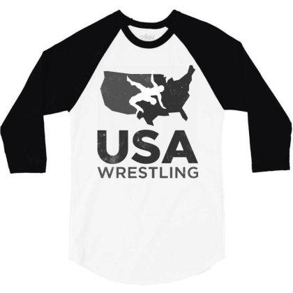 Usa Wrestling Vintage Dark 3/4 Sleeve Shirt Designed By Star Store