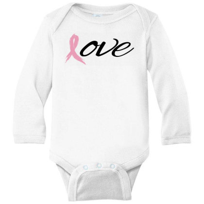 Breast Cancer Awareness - Love Long Sleeve Baby Bodysuit Designed By Black Box