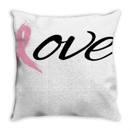 Breast Cancer Awareness - Love Throw Pillow Designed By Black Box