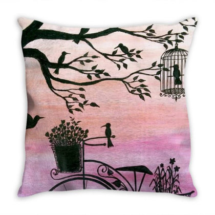 Cycle Silhouette Painting Throw Pillow Designed By Xee_fay