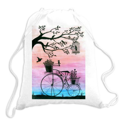 Cycle Silhouette Painting Drawstring Bags Designed By Xee_fay