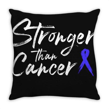 Stronger Than Cancer - Colon Cancer Survivor Throw Pillow Designed By Meza Design