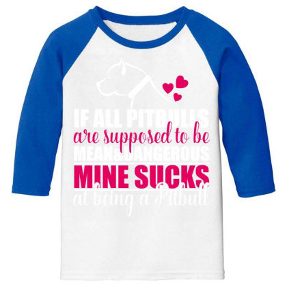 All Pitbulls Are Supposed To Be Mean Dog Lover Youth 3/4 Sleeve Designed By Vip.pro123