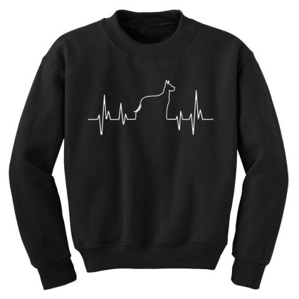 Dog Lover Line Heart Beat Simple Youth Sweatshirt Designed By Vip.pro123