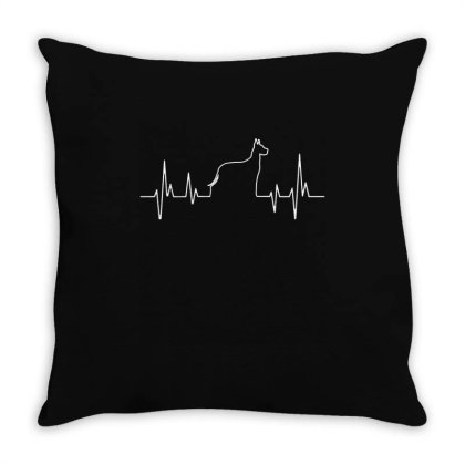Dog Lover Line Heart Beat Simple Throw Pillow Designed By Vip.pro123