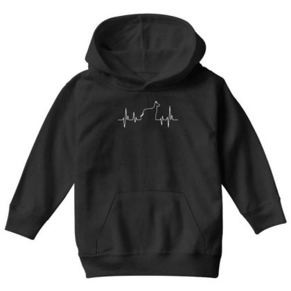 Dog Lover Line Heart Beat Simple Youth Hoodie Designed By Vip.pro123