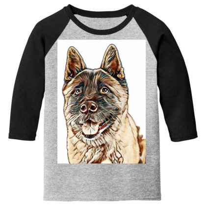 Portrait Of Brown Akita Over Youth 3/4 Sleeve Designed By Kemnabi