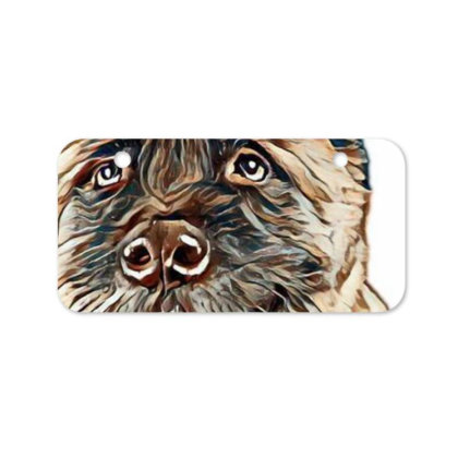 Portrait Of Brown Akita Over Bicycle License Plate Designed By Kemnabi
