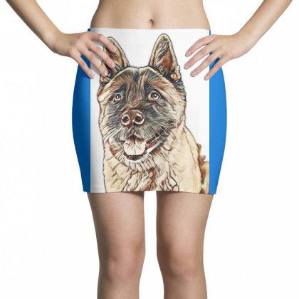 Portrait Of Brown Akita Over Mini Skirts Designed By Kemnabi