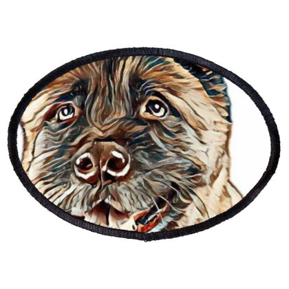 Portrait Of Brown Akita Over Oval Patch Designed By Kemnabi