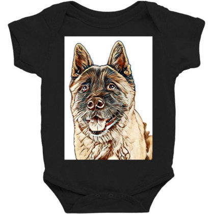 Portrait Of Brown Akita Over Baby Bodysuit Designed By Kemnabi