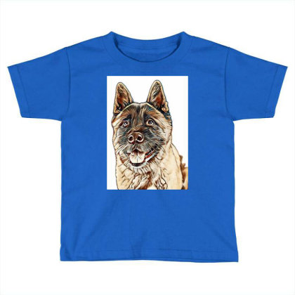 Portrait Of Brown Akita Over Toddler T-shirt Designed By Kemnabi