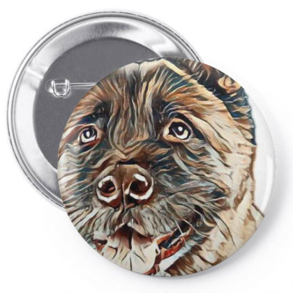 Portrait Of Brown Akita Over Pin-back Button Designed By Kemnabi