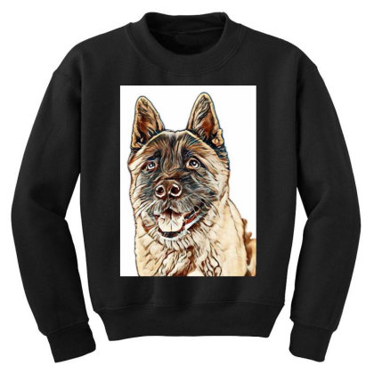 Portrait Of Brown Akita Over Youth Sweatshirt Designed By Kemnabi