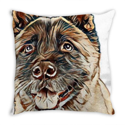 Portrait Of Brown Akita Over Throw Pillow Designed By Kemnabi