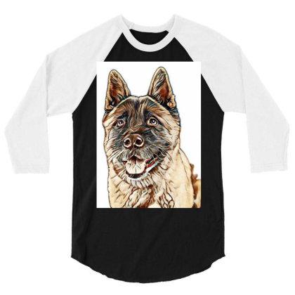 Portrait Of Brown Akita Over 3/4 Sleeve Shirt Designed By Kemnabi