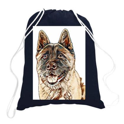 Portrait Of Brown Akita Over Drawstring Bags Designed By Kemnabi