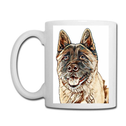 Portrait Of Brown Akita Over Coffee Mug Designed By Kemnabi