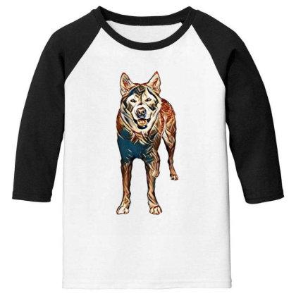 Portrait Of Akita Dog Standin Youth 3/4 Sleeve Designed By Kemnabi