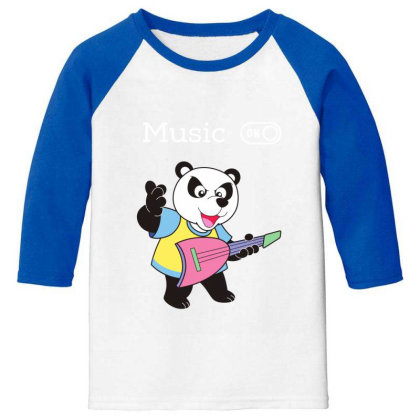 Panda And Music Lovers Youth 3/4 Sleeve Designed By Fashionnetwork