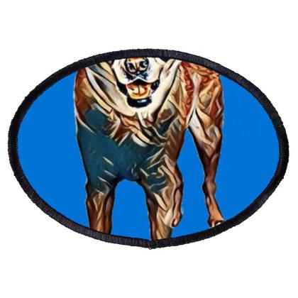 Portrait Of Akita Dog Standin Oval Patch Designed By Kemnabi
