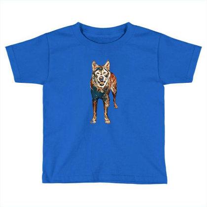 Portrait Of Akita Dog Standin Toddler T-shirt Designed By Kemnabi