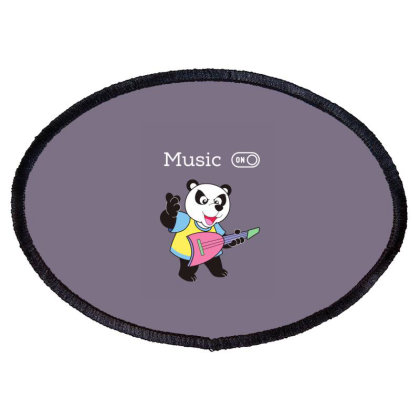 Panda And Music Lovers Oval Patch Designed By Fashionnetwork