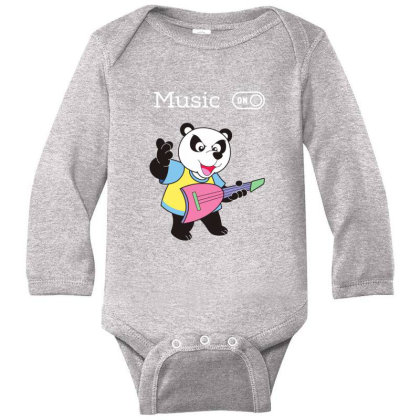 Panda And Music Lovers Long Sleeve Baby Bodysuit Designed By Fashionnetwork
