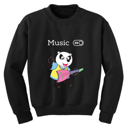 Panda And Music Lovers Youth Sweatshirt Designed By Fashionnetwork
