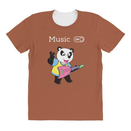 Panda And Music Lovers All Over Women's T-shirt Designed By Fashionnetwork