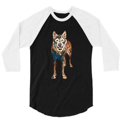 Portrait Of Akita Dog Standin 3/4 Sleeve Shirt Designed By Kemnabi
