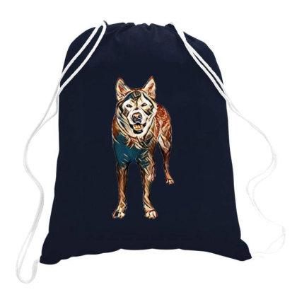 Portrait Of Akita Dog Standin Drawstring Bags Designed By Kemnabi