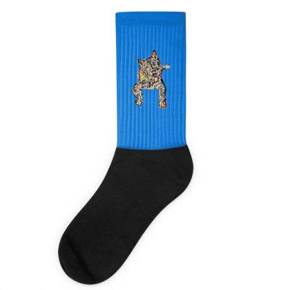Portrait Of Bored Akita Dog L Socks Designed By Kemnabi