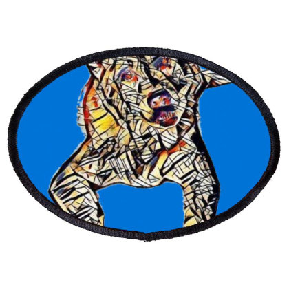 Portrait Of Bored Akita Dog L Oval Patch Designed By Kemnabi