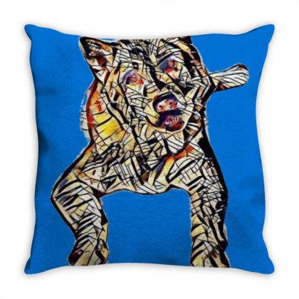Portrait Of Bored Akita Dog L Throw Pillow Designed By Kemnabi
